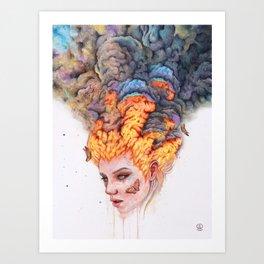 Flaming Girl Art Print
