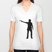 cowboy V-neck T-shirts featuring cowboy by kevinz45