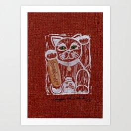 Cheerful Booming Adventure Lucky Cat Art Print