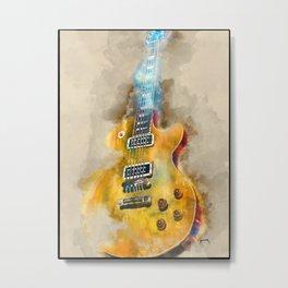 Vintage guitar art, watercolor Metal Print