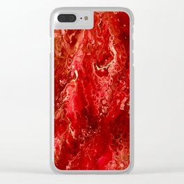 Bright Red Acrylic Pour Painting Clear iPhone Case