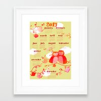 calender Framed Art Prints featuring Owl Calender 2013 by Elisandra