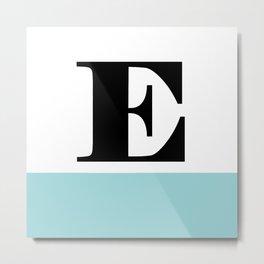 Monogram Letter E-Pantone-Limpet Shell Metal Print