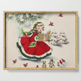 Vintage Christmas Girl Serving Tray