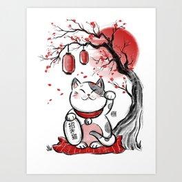 Japanese Neko Art Print