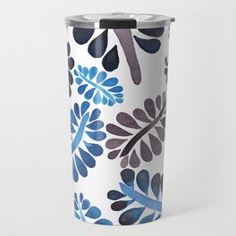 Blue leaves pattern Travel Mug
