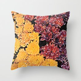 Two colors chrysanthemum floral arrangement Throw Pillow