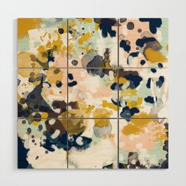 Sloane - Abstract painting in modern fresh colors navy, mint, blush, cream, white, and gold Wood Wall Art