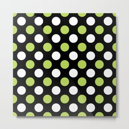 Polka Dots (Dotted Pattern) - Green Black White Metal Print