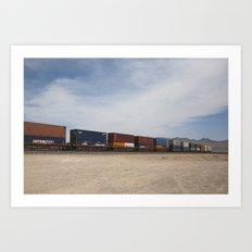 Vidal Train Crossing Blue Art Print