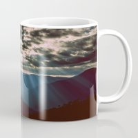 mountains Mugs featuring mountainS Dark Sunset by 2sweet4words Designs