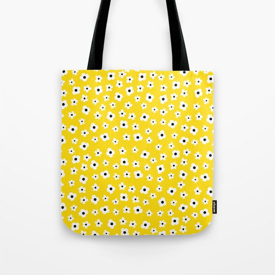 White Yellow Spring Flower Pattern Tote Bag