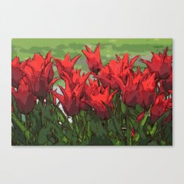 Vibrant Red Tulips Canvas Print
