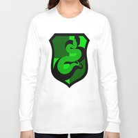 slytherin Long Sleeve T-shirts featuring Slytherin Crest by Electric Unicorn