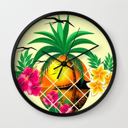 Pineapple Tropical Sunset, Palm Tree and Flowers Wall Clock