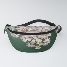 Blush Pink Flowers on Emerald Green Fanny Pack