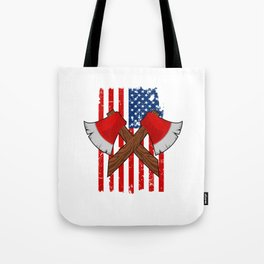 Axe Hatchet American Flag - Funny Axe Throwing Gift Tote Bag