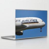 singapore Laptop & iPad Skins featuring Singapore Airlines Airbus A380 by David Pyatt