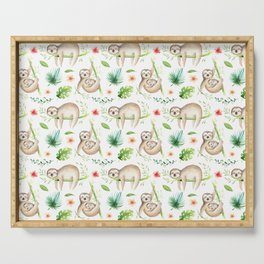 Modern hand painted green brown watercolor tropical floral sloth Serving Tray