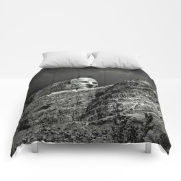 Crazy Horse Monument in Black and White Comforters