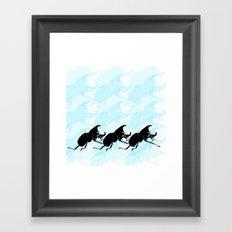 3 Scarabs Blue Framed Art Print