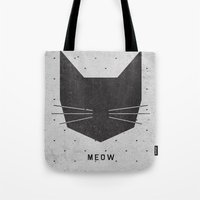 cats Tote Bags featuring MEOW by Wesley Bird