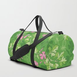 Forest Wildflowers / Green Background Duffle Bag