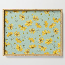 Yellow Cosmos Flower Pattern, Teal Serving Tray