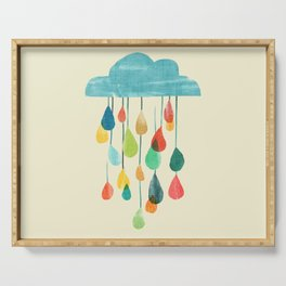 cloudy with a chance of rainbow Serving Tray