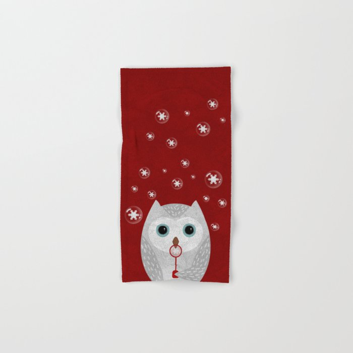 Christmas Owl Red Marble Hand & Bath Towel
