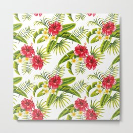 Hibiscus, plumeria and banana leaves pattern Metal Print
