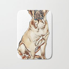red puppy bullmastiff sitting on a white background, isolated. dog 7 months old        - Image Bath Mat