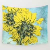 alisa burke Wall Tapestries featuring The sunflowers moment by anipani
