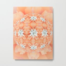 Orange Diamond Flower Ball Metal Print
