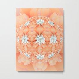 Orange Diamond Flower Ball Metal Print