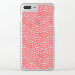 Japanese Seigaiha Wave Pattern – Coral Clear iPhone Case