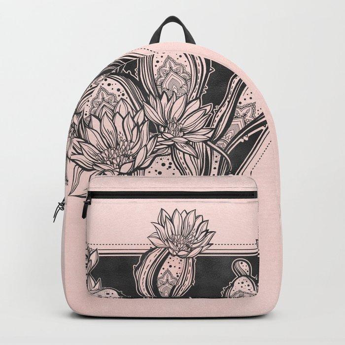 Cactus Rose - Blush Pink and Black Backpack