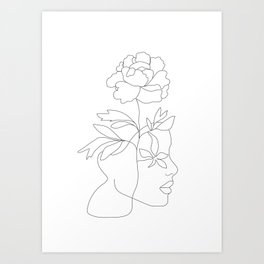 Minimal Line Art Woman Face III Art Print