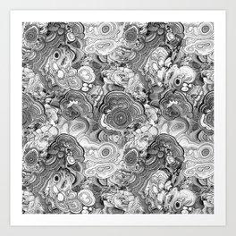 Malachite black and white Art Print