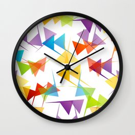 Fractal triangles with unfolding colors Wall Clock