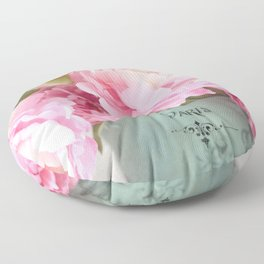 Paris Pink Peonies Bouquet Floor Pillow