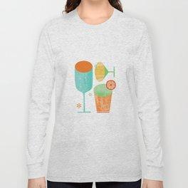 Pour & Drink (Blue) Kitchen or Bar Art Long Sleeve T-shirt