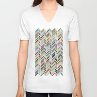 herringbone V-neck T-shirts featuring Herringbone Colour #2 by Project M