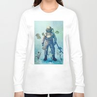 fish Long Sleeve T-shirts featuring Deep Sea Garden  by Terry Fan