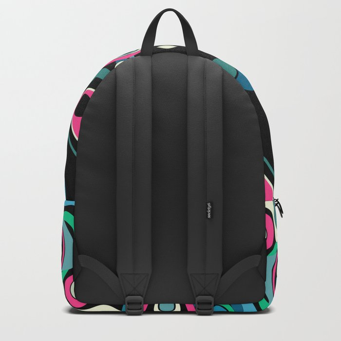Abstract black and pink , turquoise polka dot pattern . Backpack
