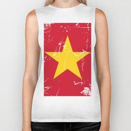 Vietnam Flag with Grunge effect Biker Tank