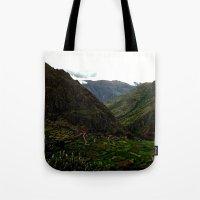 peru Tote Bags featuring Rural Peru by miranda stein