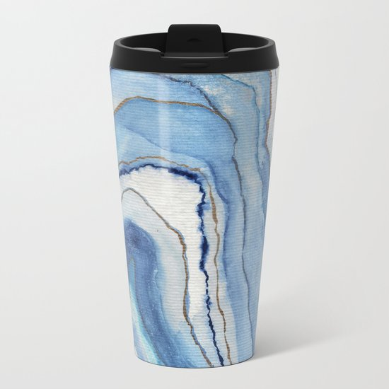 AGATE Inspired Watercolor Abstract 02 Metal Travel Mug