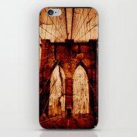 brooklyn bridge iPhone & iPod Skins featuring Brooklyn Bridge by Del Vecchio Art by Aureo Del Vecchio