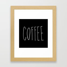 Coffee - Black and white hand lettering Framed Art Print